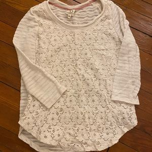 Anthropologie lace sweat/top
